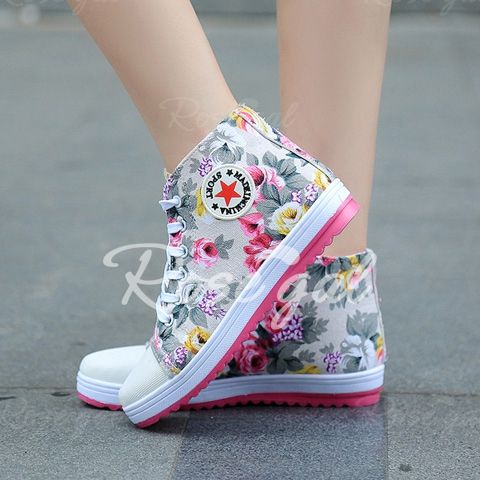 Sweet Floral Print and Lace-Up Design Women's Canvas Shoes