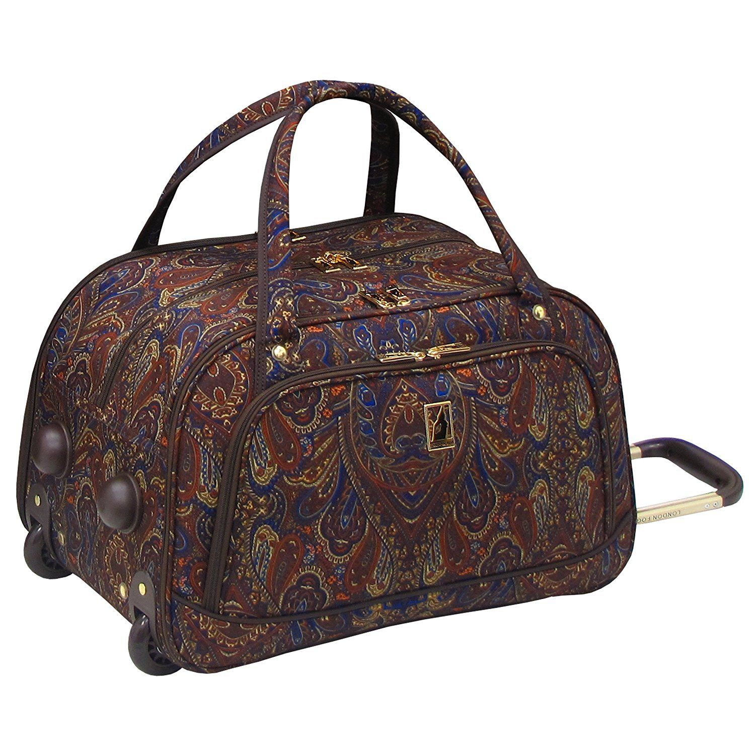 03f7232ae9 Girls Brown Blue Paisley Floral Themed Wheeled Duffle Bag Upright Rolling  Duffle Luxury Motif Flowers Printed Carry Travel Duffel Wheels Wheeling