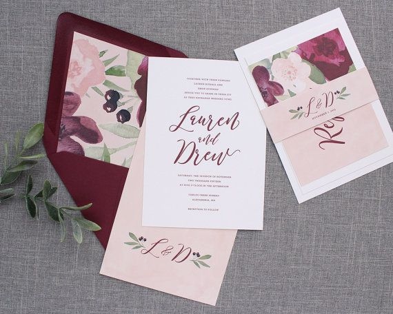 Burgundy floral wedding invitation, blush wedding invitation, pink - wedding invitation design surabaya