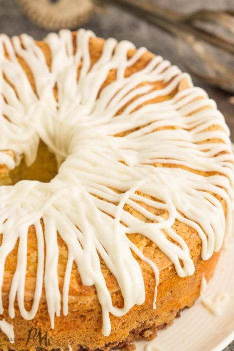 Homemade Sour Cream Cinnamon Roll Pound Cake Recipe With Cream Cheese Frosting Laced With A Cinnamon Swirl This Cake Is Buttery Yet Light An Pound Cake Recipes Homemade Sour Cream Cake