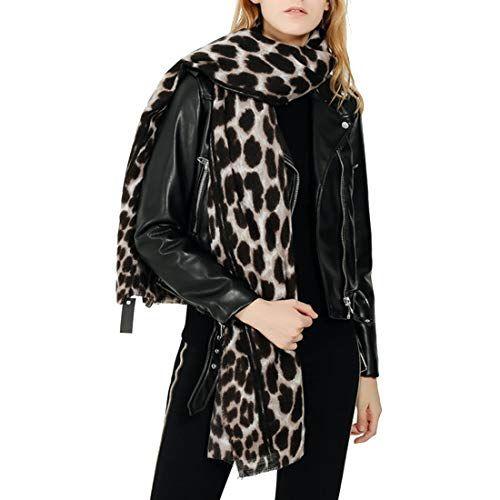 0f740f012ae6 G WELL Femme Écharpe Hiver Chaude Léopard Imprimé Châle Longue Foulard à la  Mode - Blanc