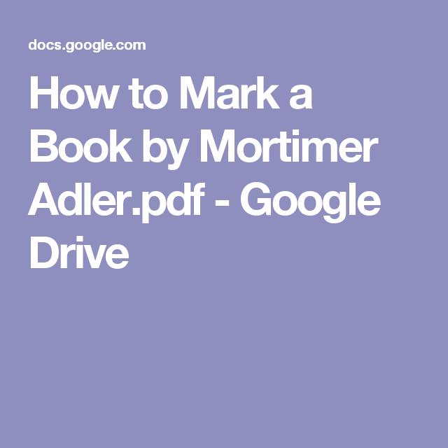 how to mark a book mortimer adler pdf