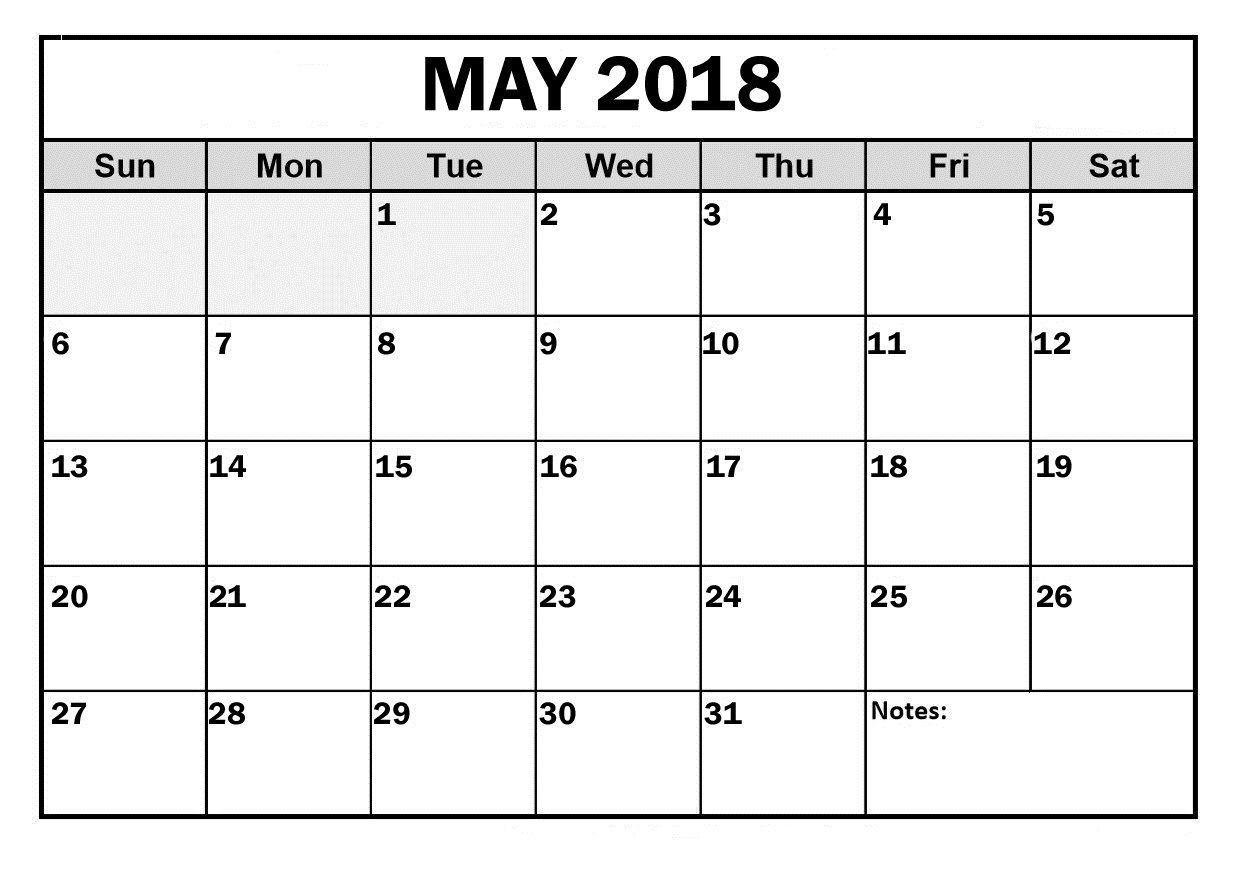 May 2018 Calendar Free Printable Printable Calendar Template