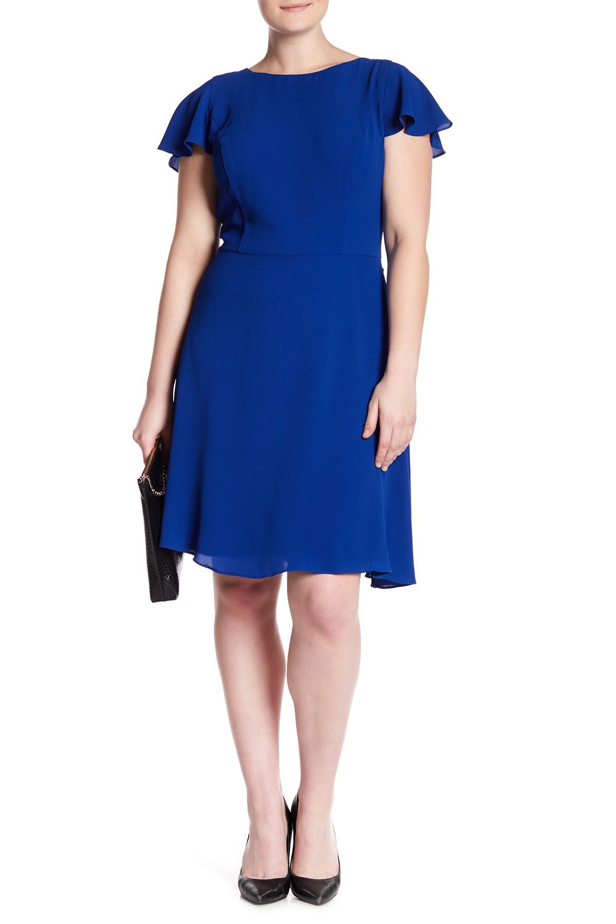 ca153223c London Times Catalina Ruffle Cap Sleeve Fit & Flare Dress (Plus Size ...