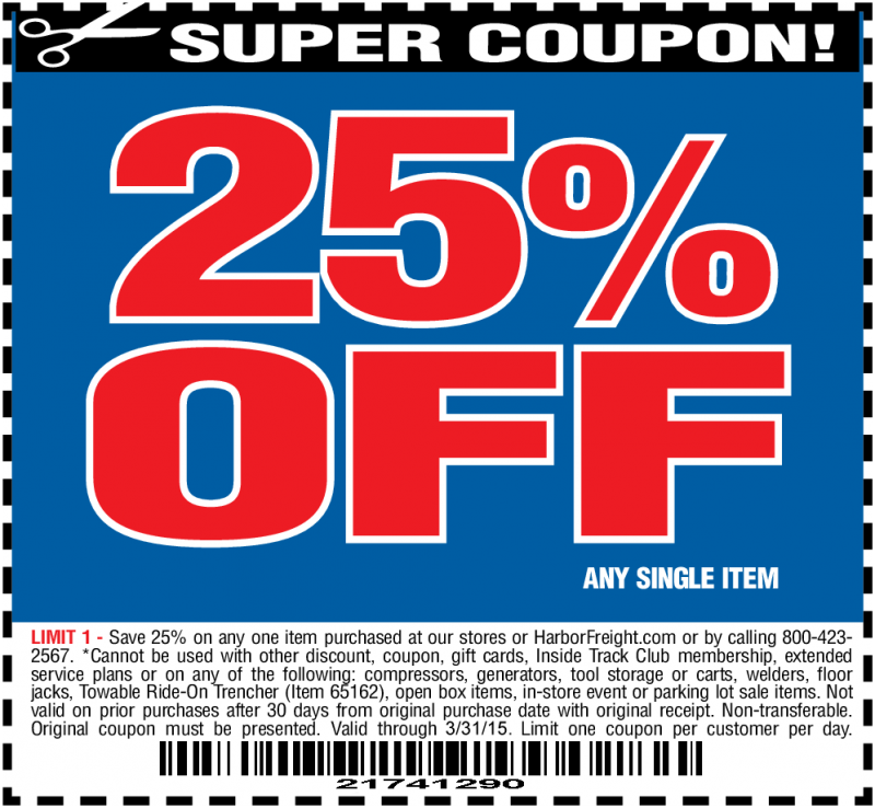 Hot Deal Harbor Freight 25 off Coupon Exp. 3/31/15