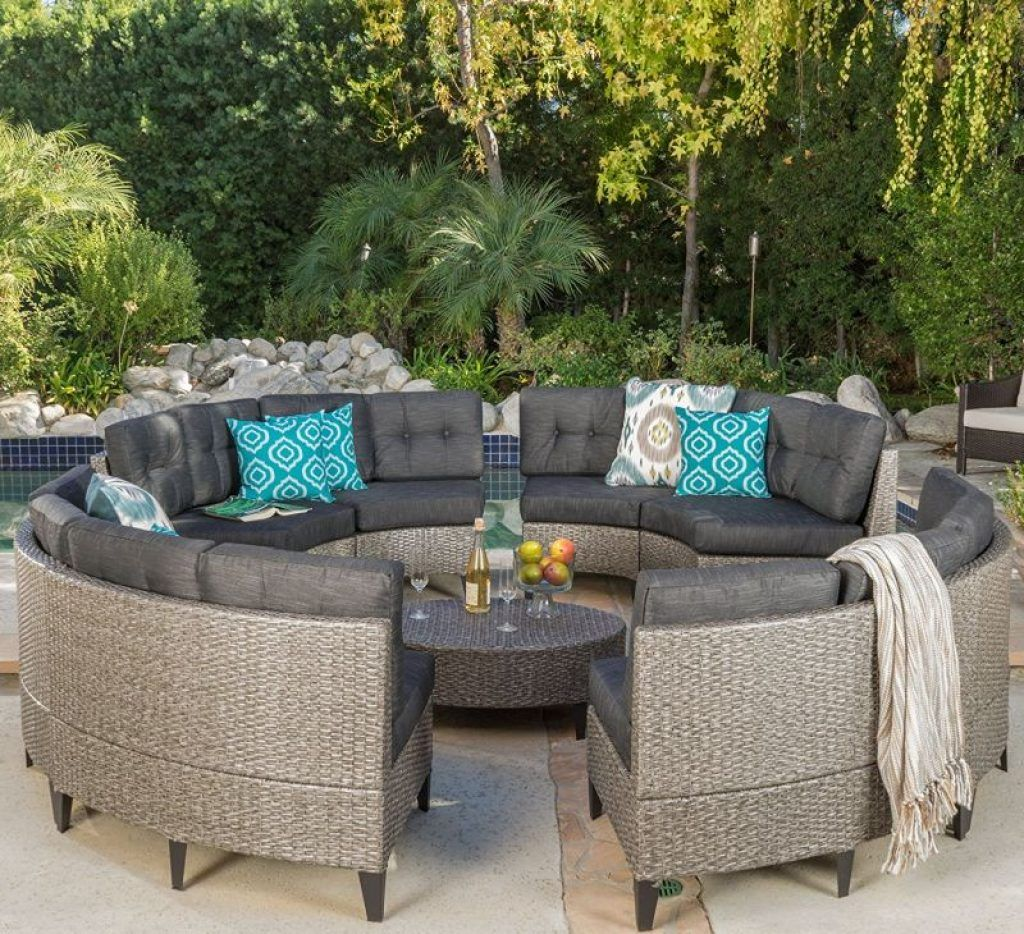 Currituck Outdoor Wicker Patio Furniture 10 Piece Black Circular Sofa Set Wi Outdoor Wicker Patio Furniture Outdoor Wicker Furniture Outdoor Furniture Cushions