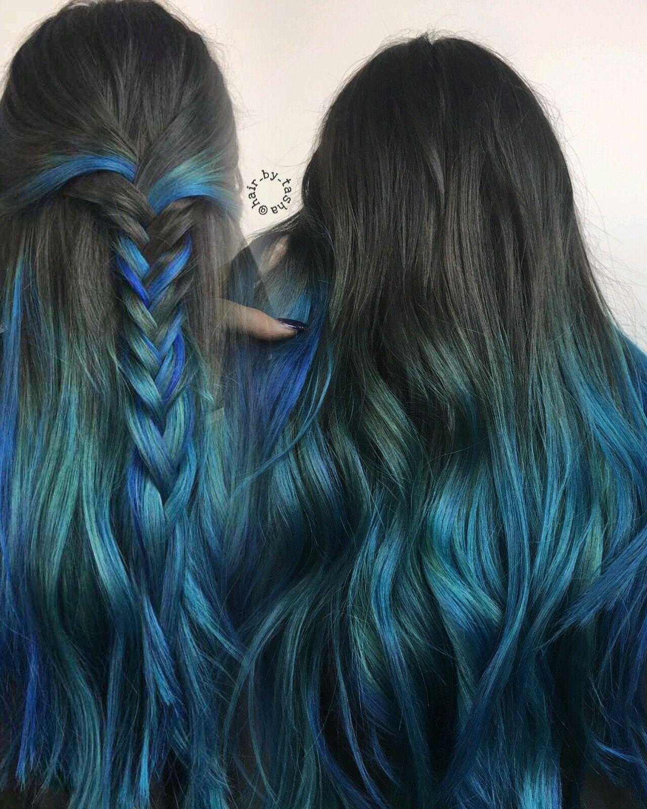 Blue Hair Blue Ombre Hair Unique Hair Colors Black Hair Blue