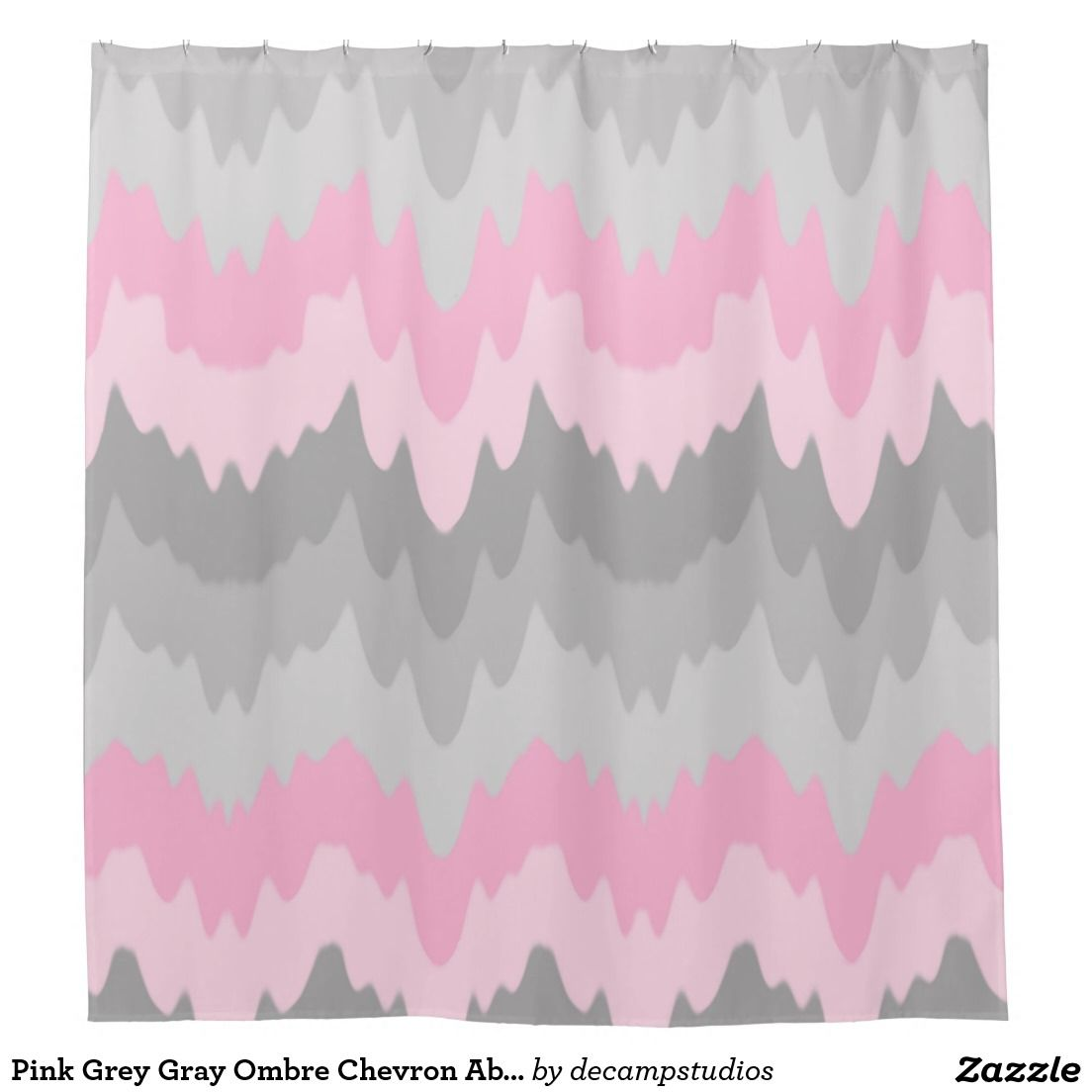 Shower curtains for girls - Pink Grey Gray Ombre Chevron Abstract Zigzag Girl Shower Curtain