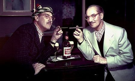 Groucho Marx posing for a Rheingold beer advertisement, double exposure, circa 1952. Modern color, 11x14. $600 © 1978 Paul Hesse MPTV