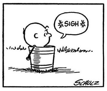 Charlie Brown, sighing, with the word 'sigh' surrounded by what ...