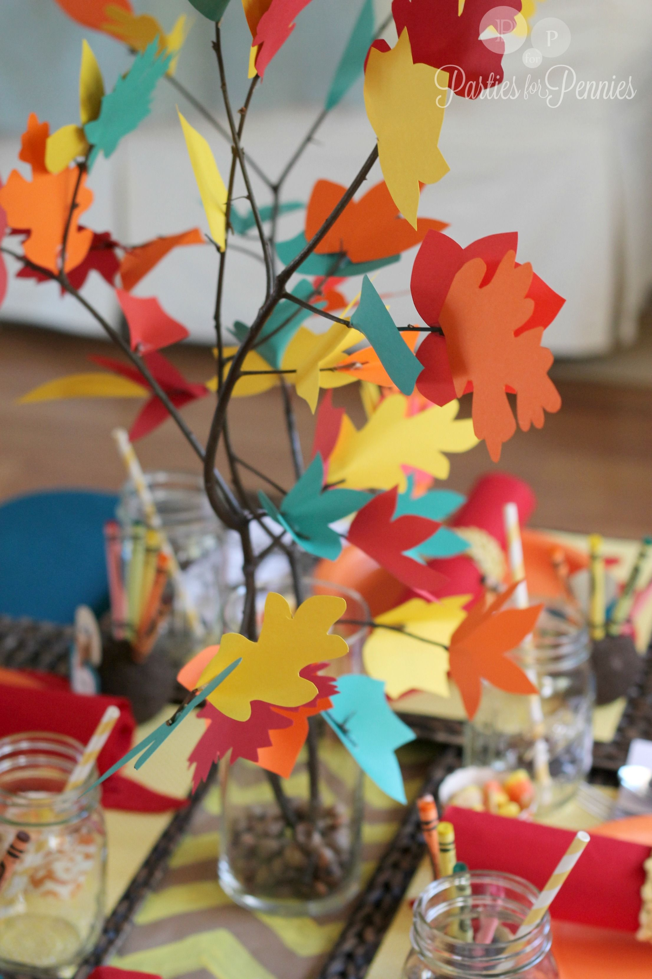 Kids Thanksgiving Table Colorful Thankful Tree