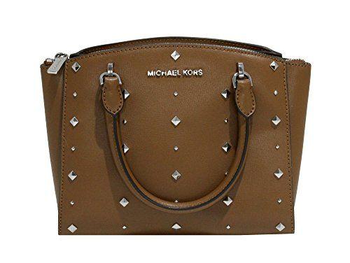 f5471e888202 MICHAEL Michael Kors Women s ELLIS Small Satchel Studded Leather handbag  (Luggage)