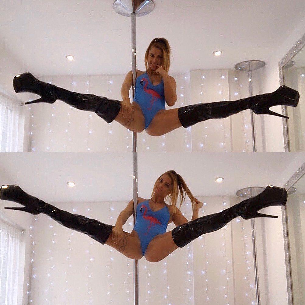 Flamingos & Thigh highs 💘 #pdteddy #pdteddybear #pole #poledance #poledancer #pdstraddle #pdspready...