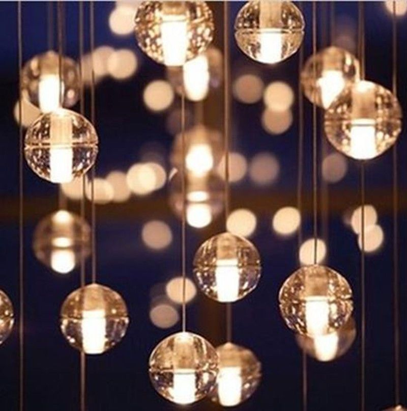 New Diy Crystal Ball Pendant Light Ceiling Hanging Lamp Chandelier
