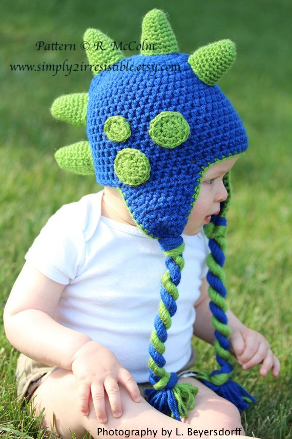 Image of Dino Dinosaur ~ Mohawk Beanie and Earflap Crochet Pattern ...