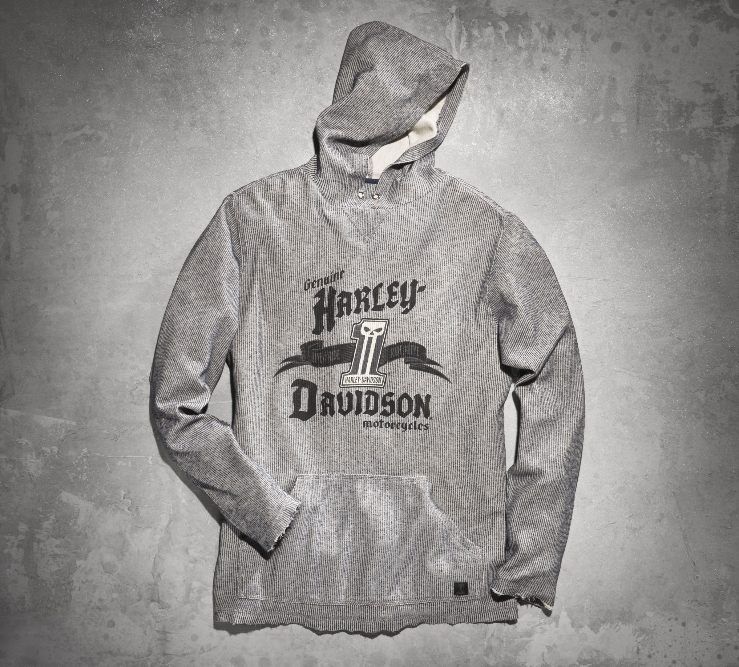 We passed on the more traditional fleece sweatshirt material and cut this hoodie from a cotton rib-knit. We also ditched the zipper for a pullover style.| Harley-Davidson Men's Black Label Two Tone Hoodie