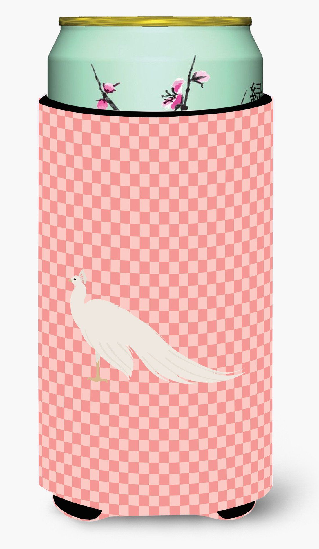 White Peacock Peafowl Pink Check Tall Boy Beverage Insulator Hugger ...