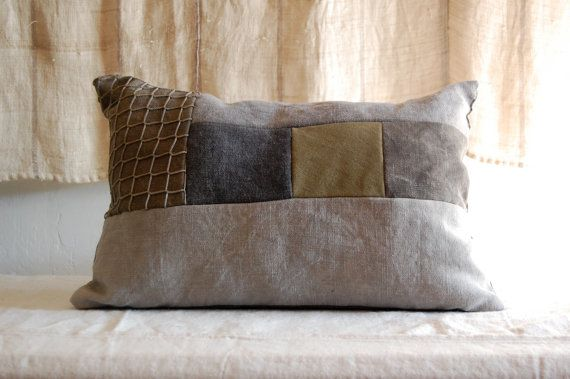 patch scrap and fisherman's net cushion organic hand by enhabiten