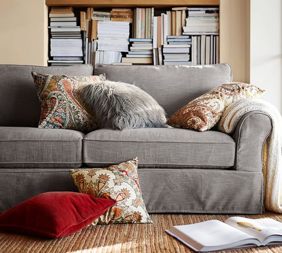 Pb Comfort Roll Arm Slipcovered Sofa Large Sectional