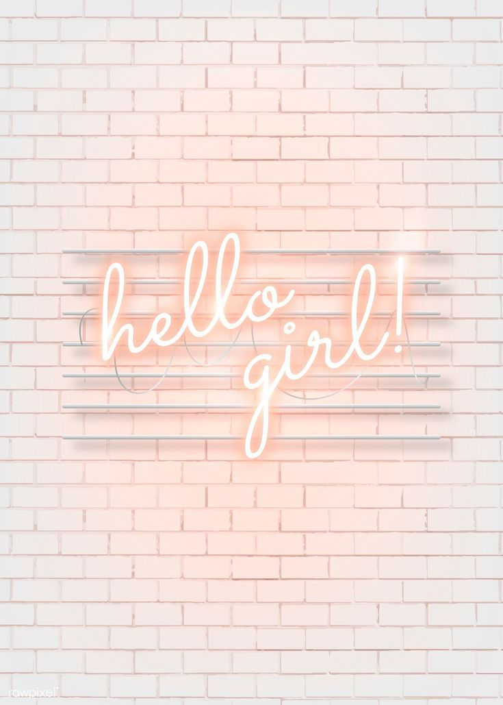 Download premium vector of Hello girl neon word on a white brick wall