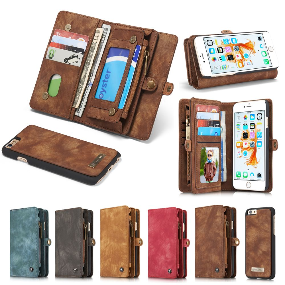 New Genuine Real Leather Wallet Case For Apple Iphone 6 6s