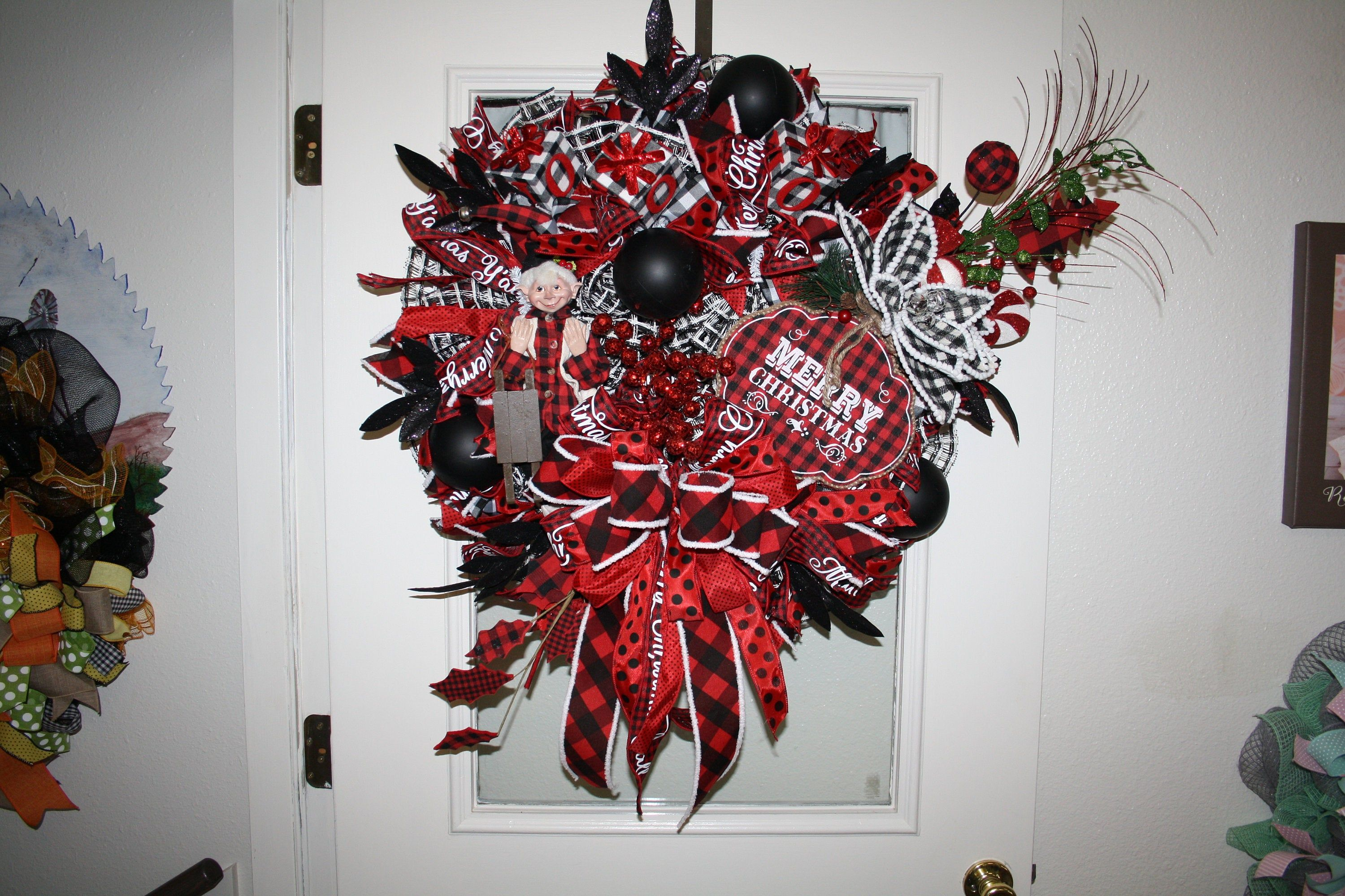 Merry Christmas Wreath, Buffalo Plaid, Elf, Front Door Decor, Deco Mesh Wreath #decomeshwreaths