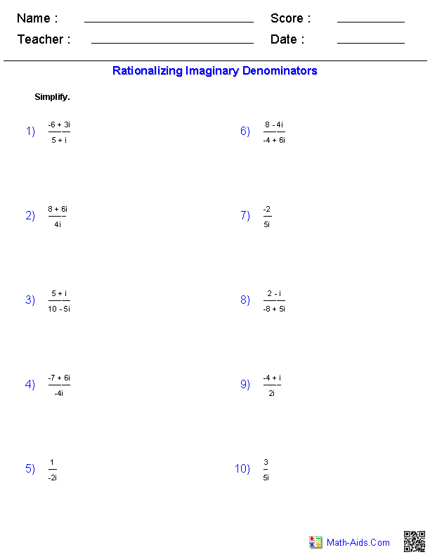 Rationalizing Imaginary Denominators | EDUCATION | Pinterest ...
