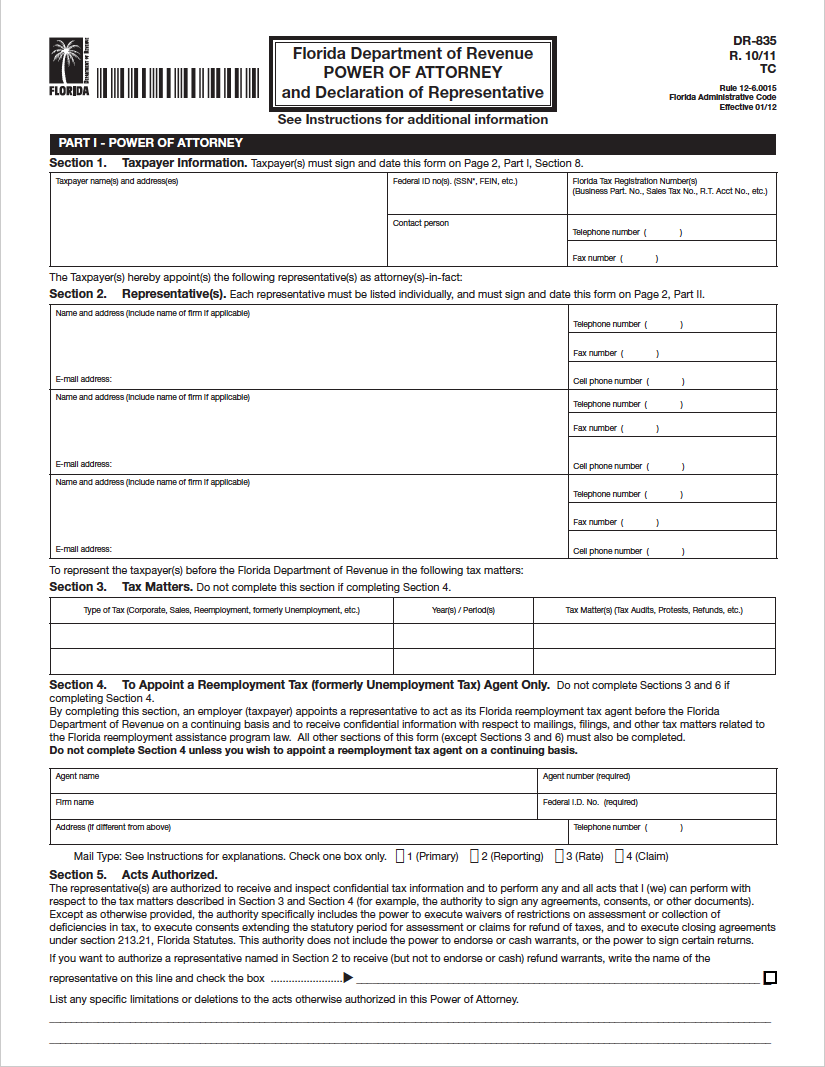 Florida Tax Power of Attorney (Form DR835) in 2020