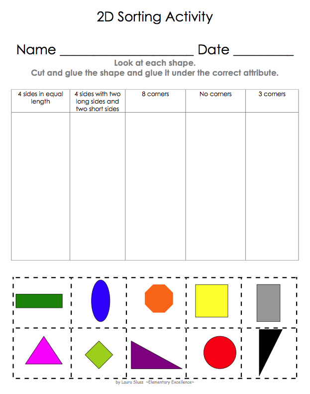 2d Shape Sorting Activity  With Images
