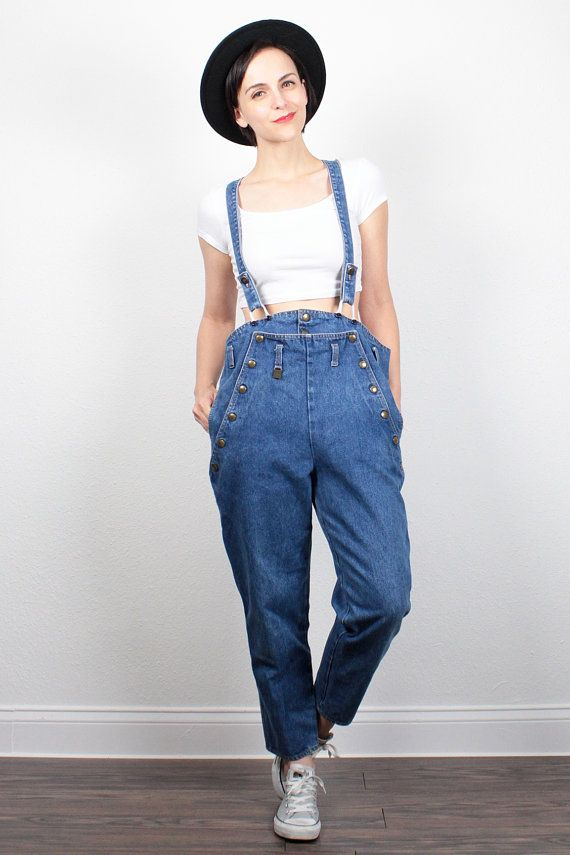 e9dcc9a875 Vintage 80s Denim Overalls 1980s Tapered Leg Jeans Suspenders Overall  Jumpsuit Dungarees High Waisted Mom Jeans Jumper M Medium L Large by  ShopTwitchVintage ...