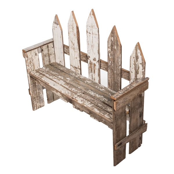 Country Wooden Benches Part - 36: Crafted+from+reclaimed+wood +and+featuring+a+picket+fence-inspired+design,+this+white+wash-finished+ Bench+brims+with+country-chic+style.