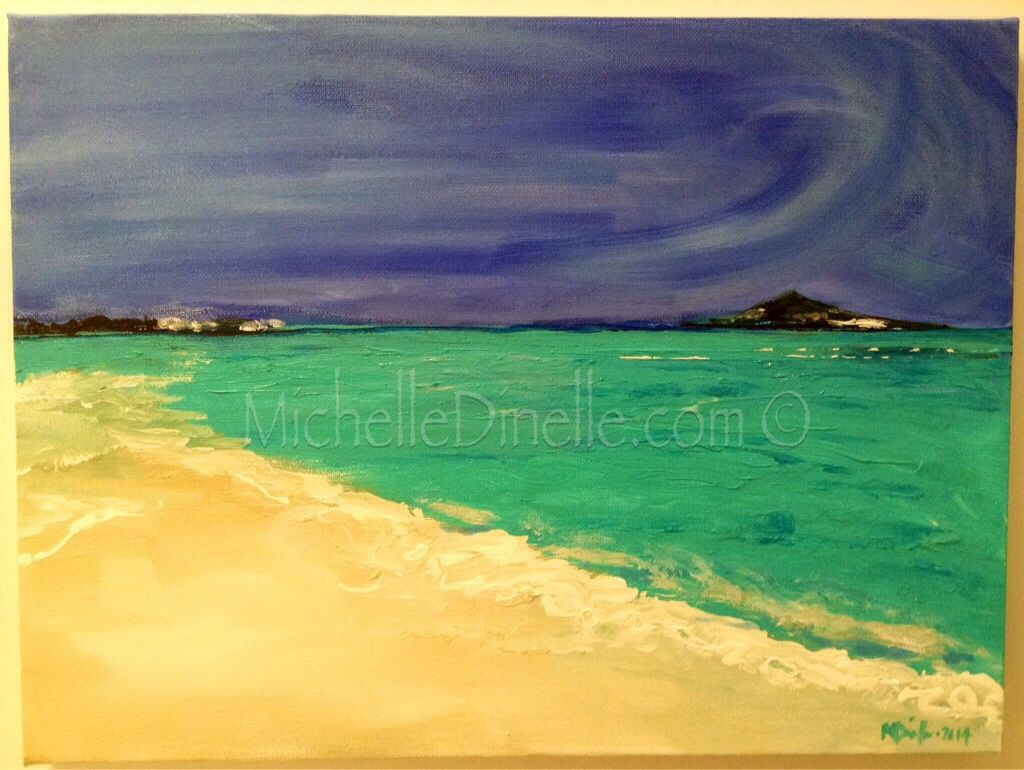 "CARIBBEAN DAYS - Original Art for Sale ©Michelle Dinelle | Acrylic on Canvas | 12""x16"" 