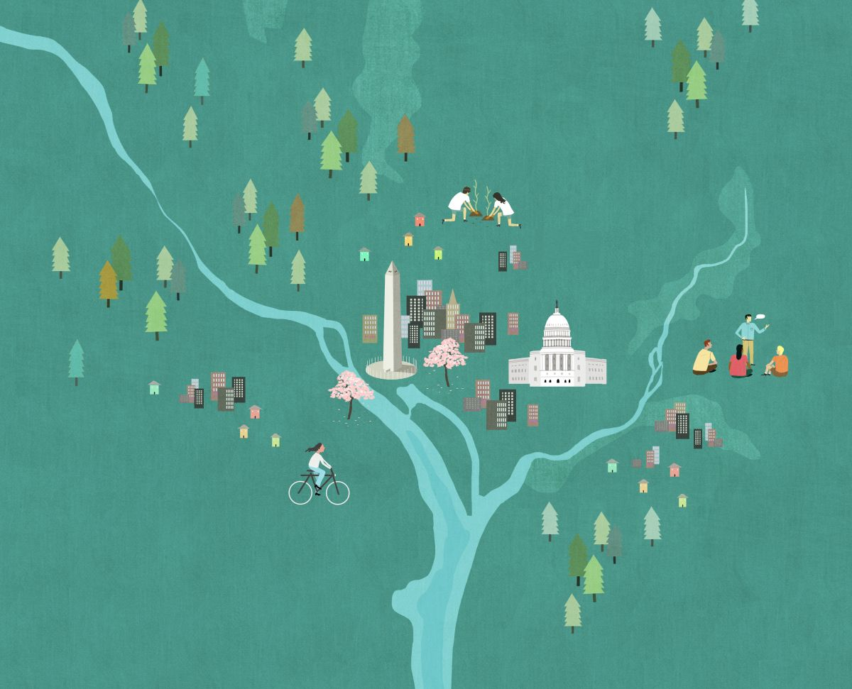 DC map for Starbucks VoteGiveGrow campaign illustrator