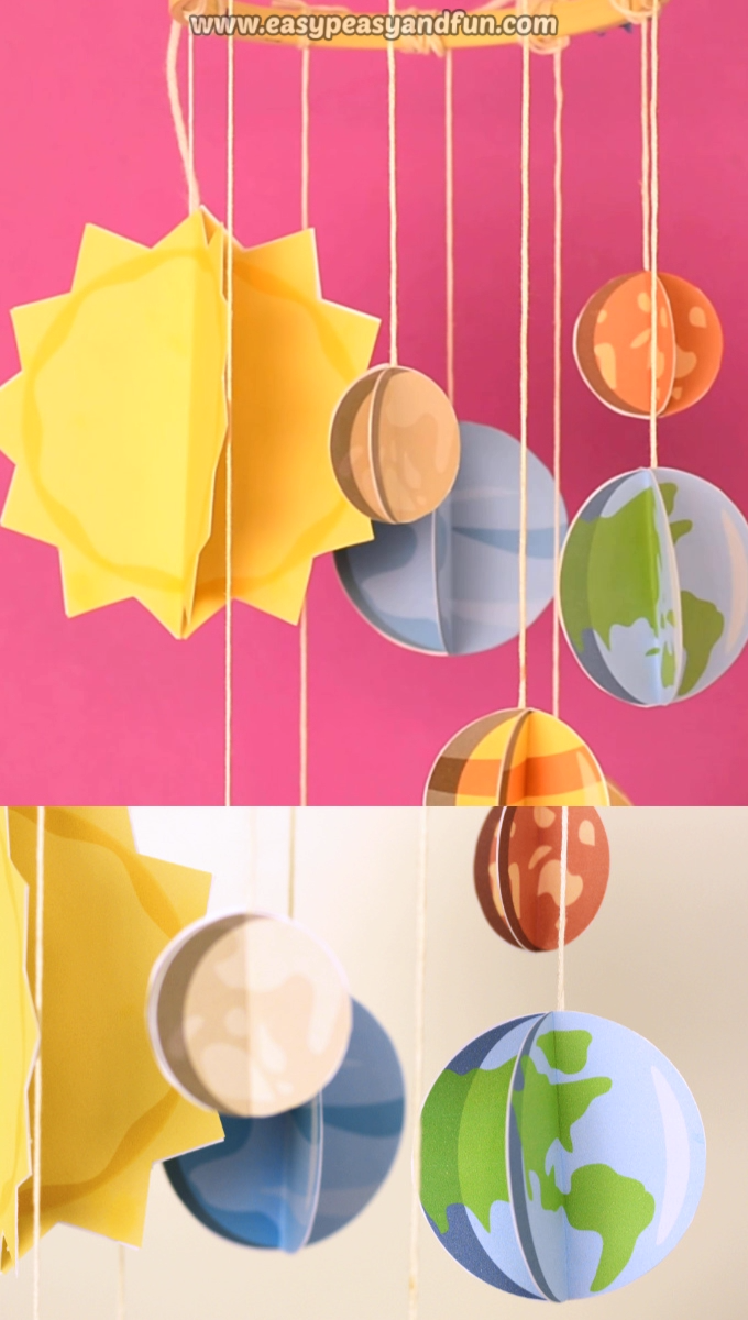 3D Paper Mobile Planets Craft Template – Solar System Craft for Kids #craftsforkids