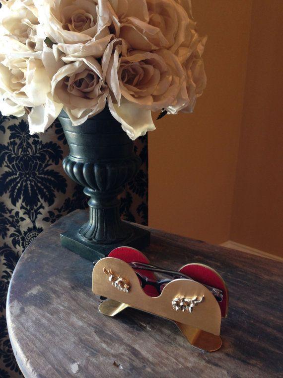 01158da59cde Mid Century Eyeglass Holder Stand Gold Rhinestones Felted Fancy ...