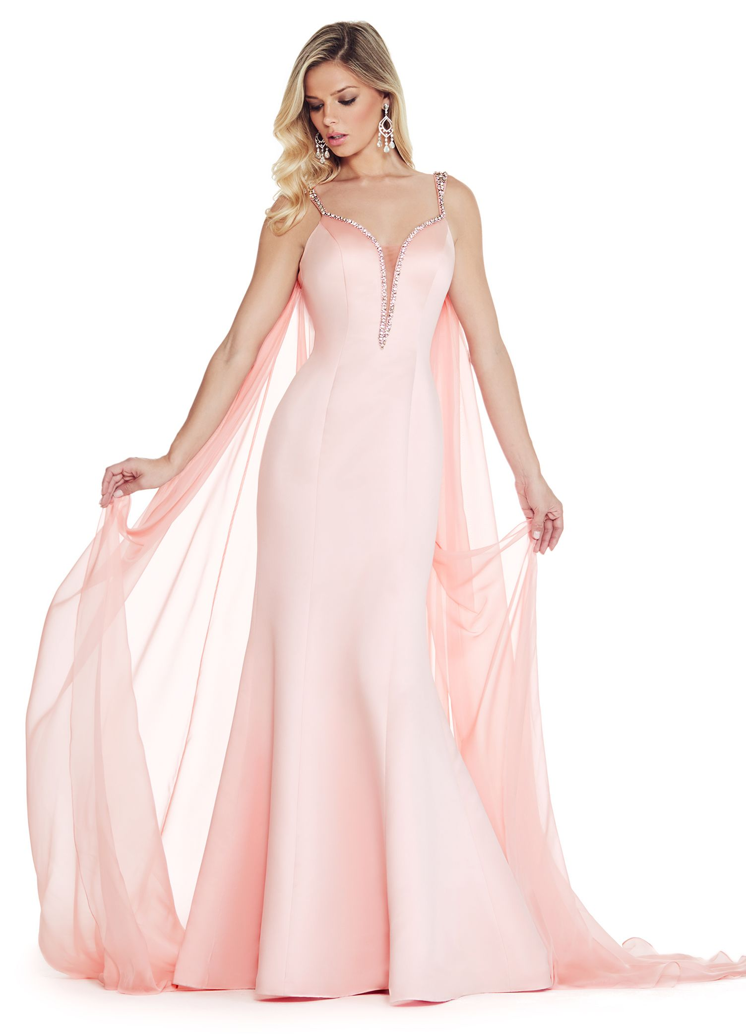 Style 1279 | ASHLEYlauren Blush mermaid evening gown with cape ...