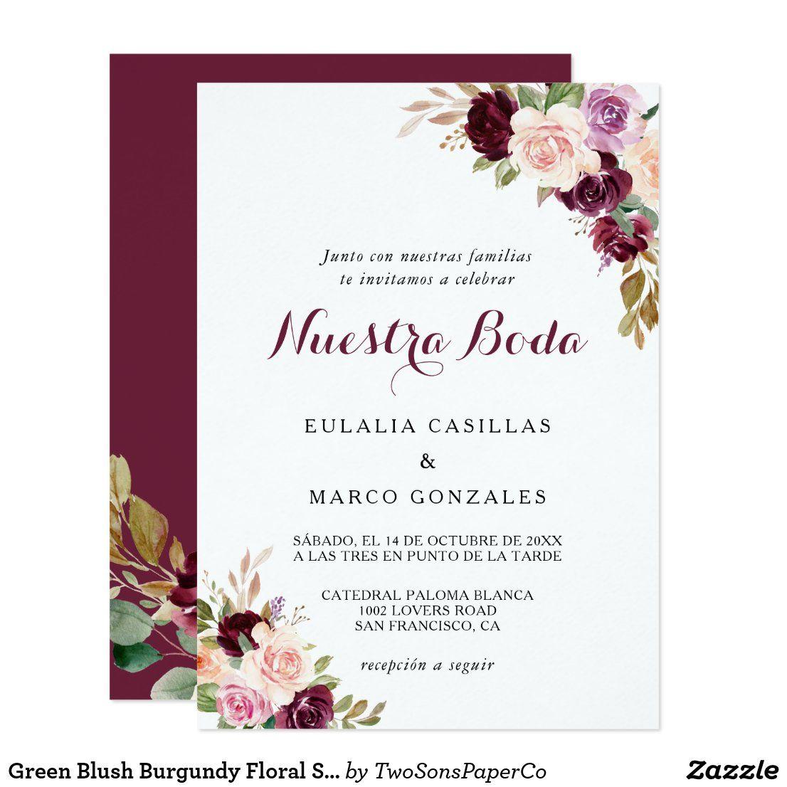 Green Blush Burgundy Floral Spanish Wedding Invitation Zazzle Com Spanish Wedding Invitations Purple Wedding Invitations Rustic Wood Wedding Invitations