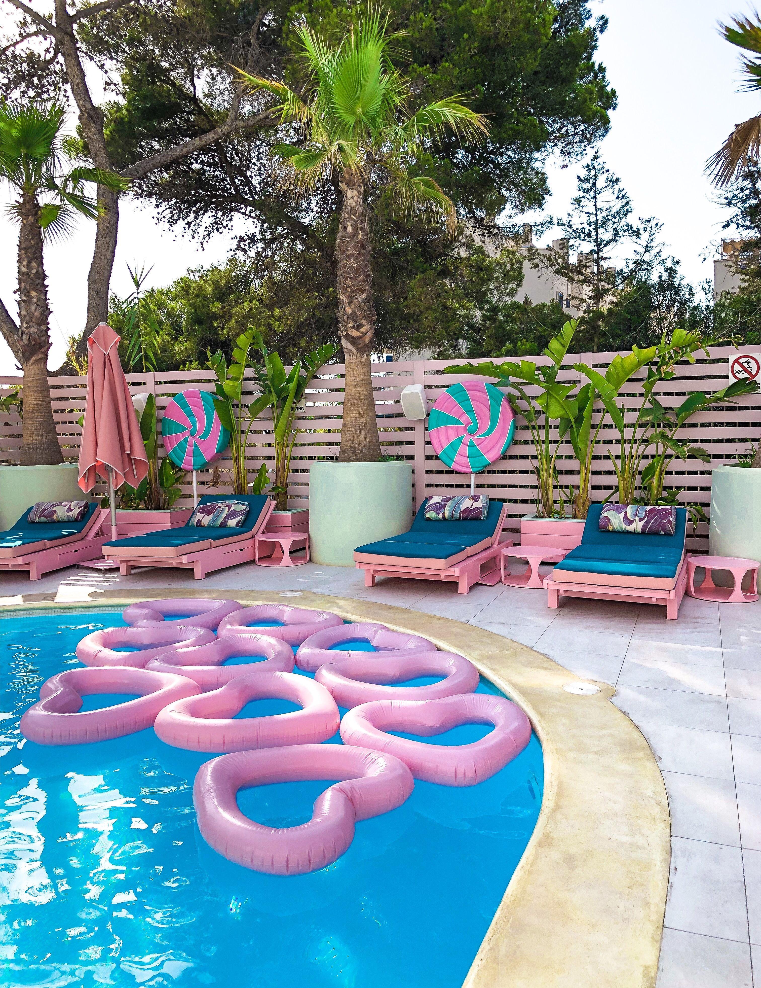 Pool Goals Wi Ki Woo Ibiza Hotel Ibiza Pink Hotel Pool Floaties