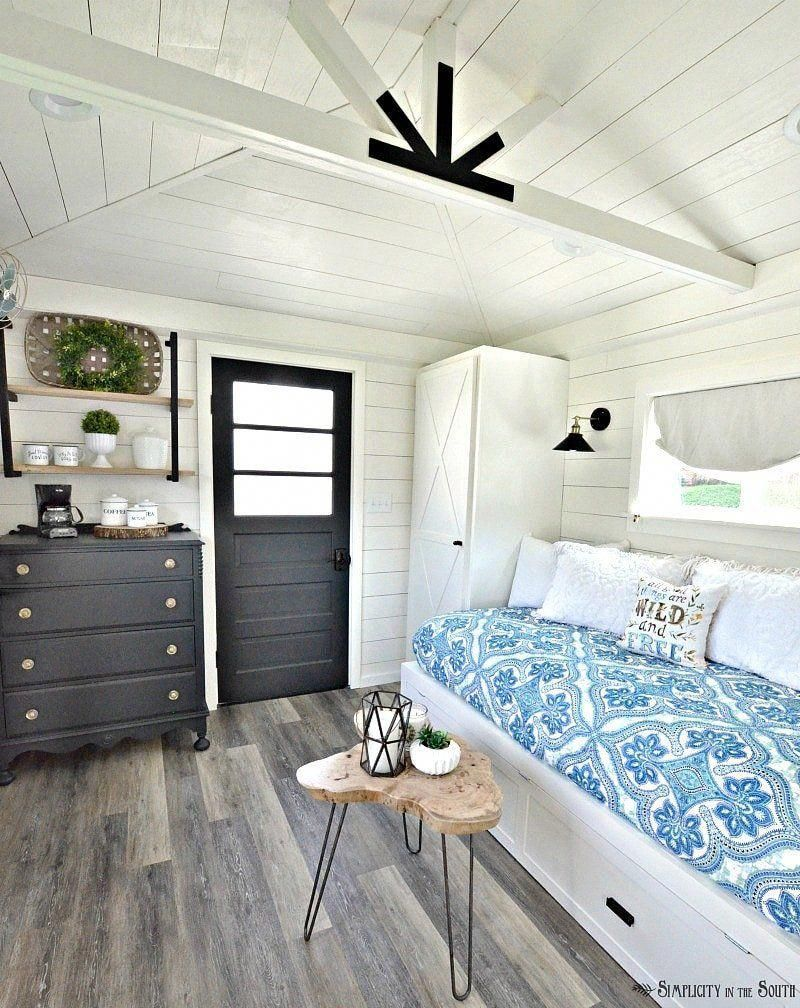 One room challenge the modern farmhouse cottage guest shed reveal simplicity in the south sheddesigns
