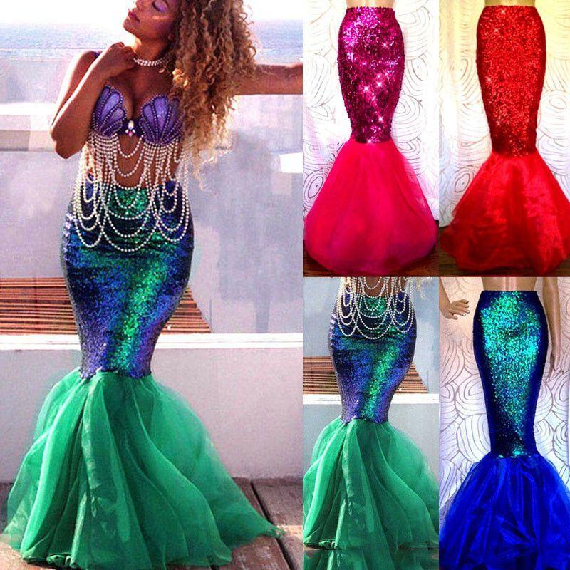 0542894c1fbcd Women Adult Ariel Little Mermaid Skirt Fish Tail Fancy Dress Cosplay ...