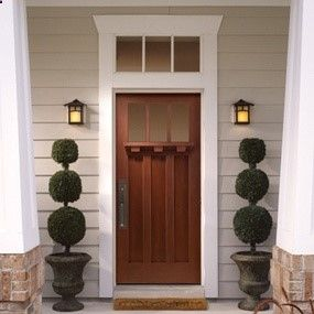 Craftsman Entry Door, Transom Window, Topiary Sentinels