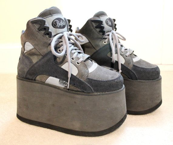sports shoes f48ac 1589f 90s RARE Clubkid Buffalo Reflective Tower Platform Sneakers ...