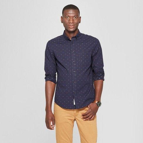 2884a9d3 Men's Long Sleeve Standard Fit Printed Northrop Poplin Button-Down Shirt -  Goodfellow & Co™ : Target