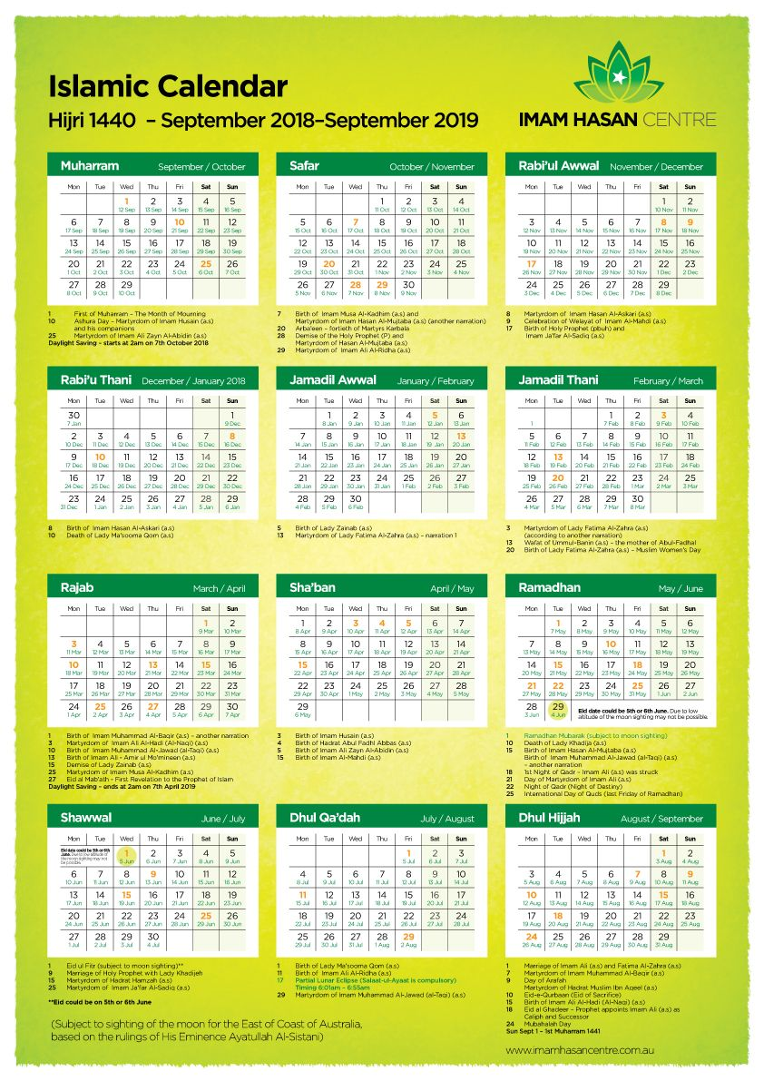 Kalender Hijriyah 1440 Pdf : kalender, hijriyah, ISLAMIC, CALENDAR, Hasan, Centre, Islamic, Calendar,, Hijri, Calendar