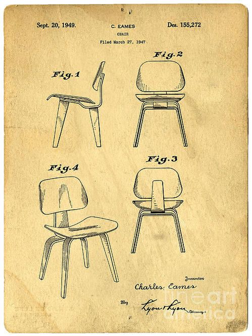 Chair Design Patent Accent Dining Chairs Designs For A Eames Poster By Edward Fielding Graphics