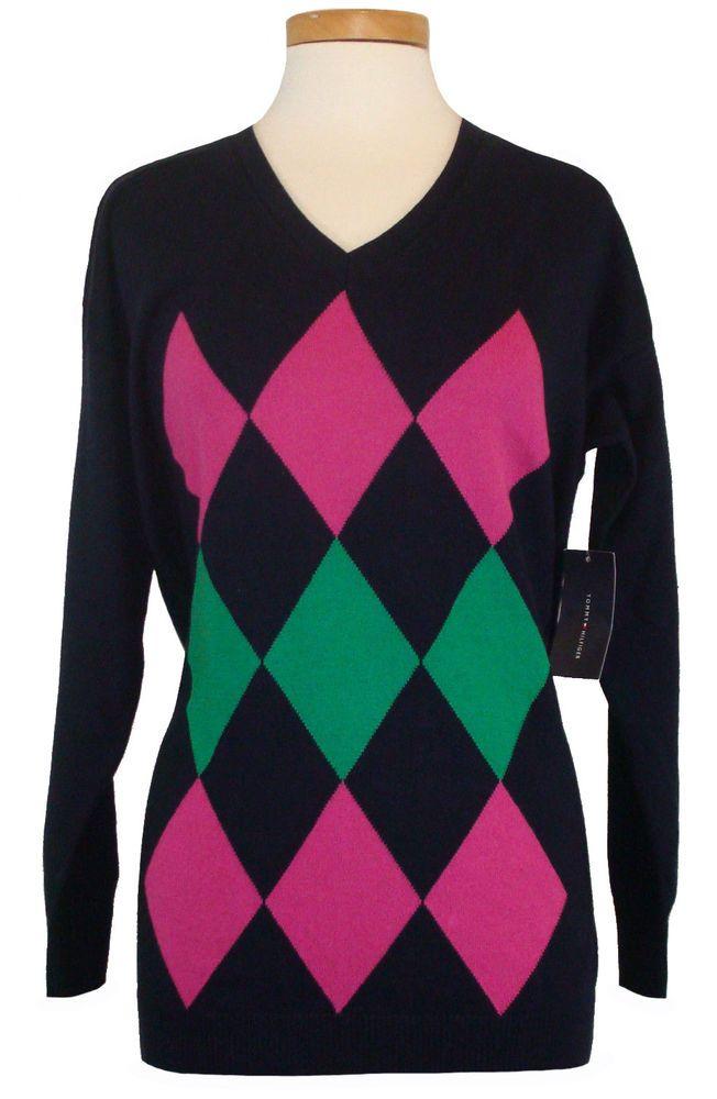 afb18756 Tommy Hilfiger Womens Sweater Argyle V-Neck Knit Top Navy Blue Sz XS NEW  $69.50 #TommyHilfiger #VNeck