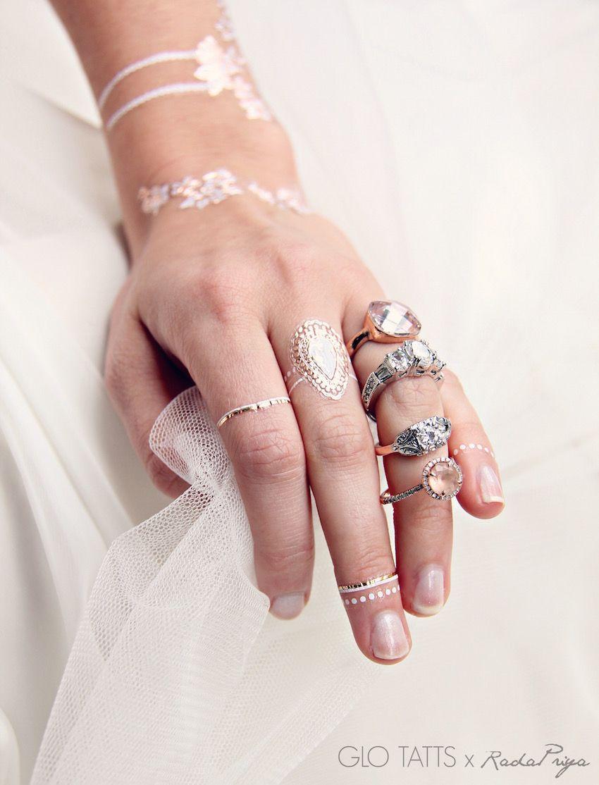 GLO TATTS ® X Rada Priya Metallic Tattoo Collaboration. Wedding ...