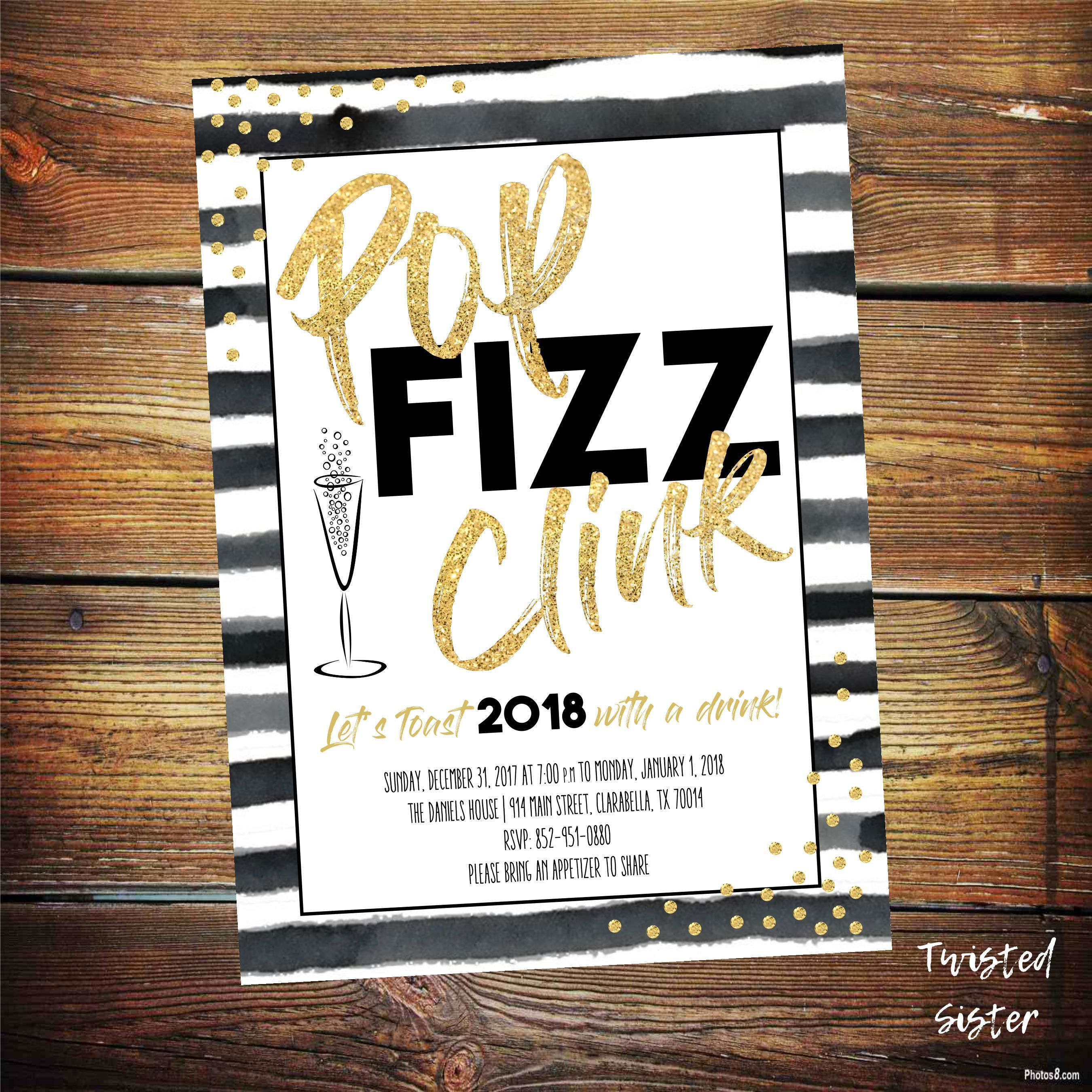 Pop Fizz Clink New Years Invite, Black and Gold New Years Party, New ...