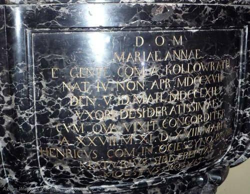Grab Oder Gedenkstein Von Maria Anna Franziska Kolowrath Krakowski Grafin Bruhl In Der Kapuzinerkirche Warschau Gedenksteine Gedenken Warschau