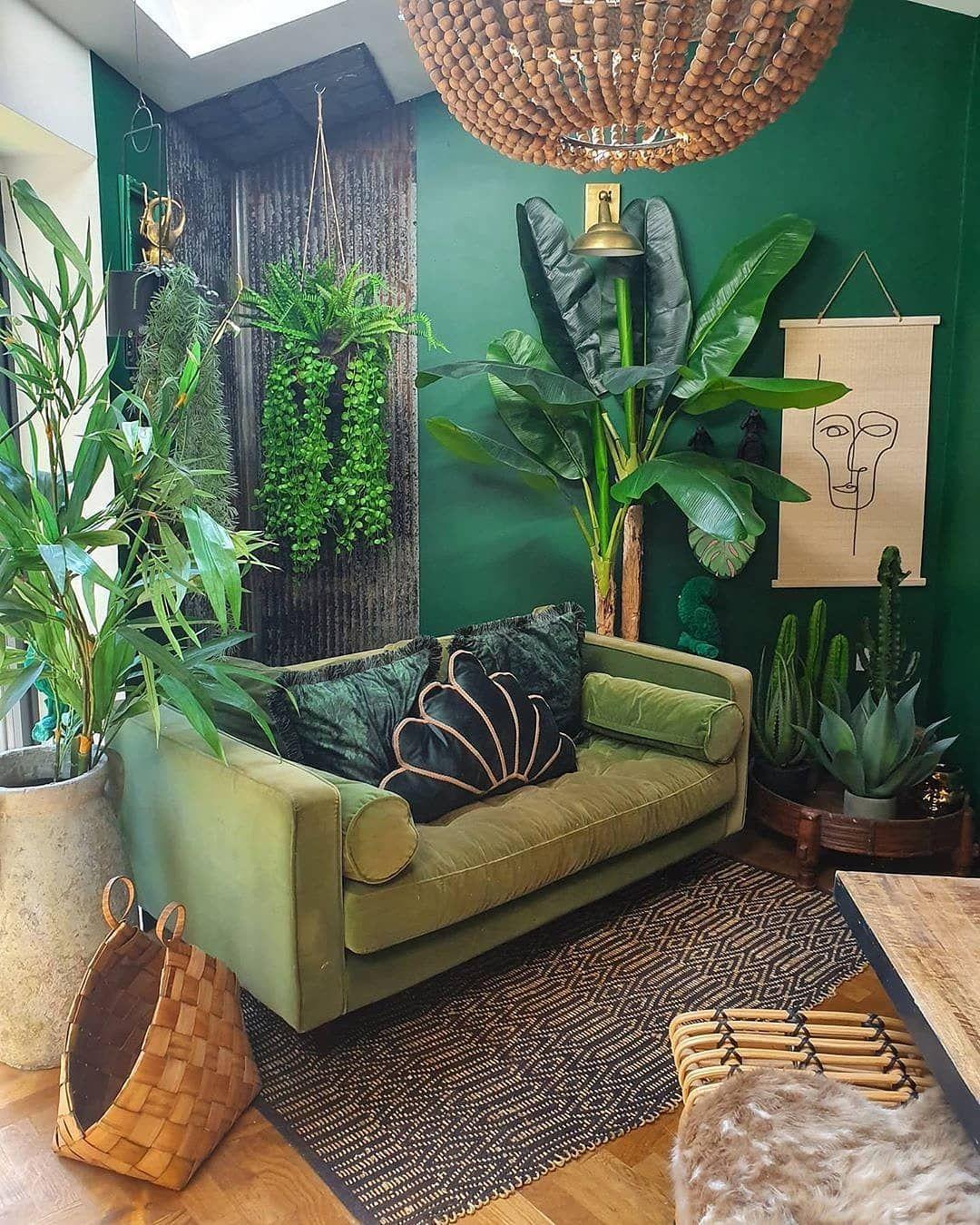 Home Decor Interior Designs On Instagram Love This Jungle Livingroom Absolutely Unique Do You Lik Budget Home Decorating Interior Design Home Decor Jungle living room ideas